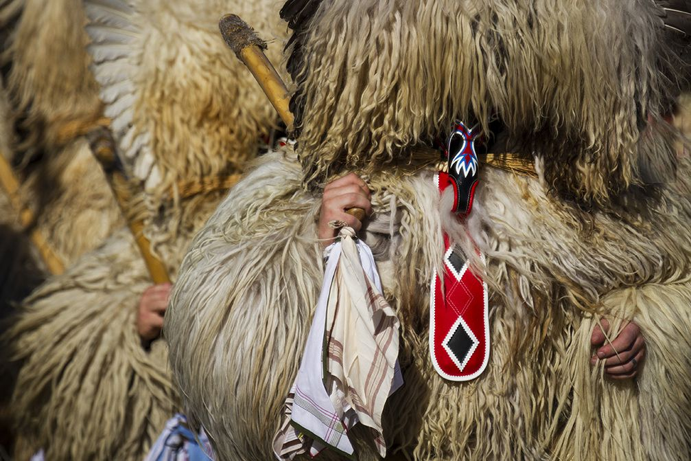 Kurent, a traditional Slovenian carnival mask with cow bells, dressed in fur and special headgear