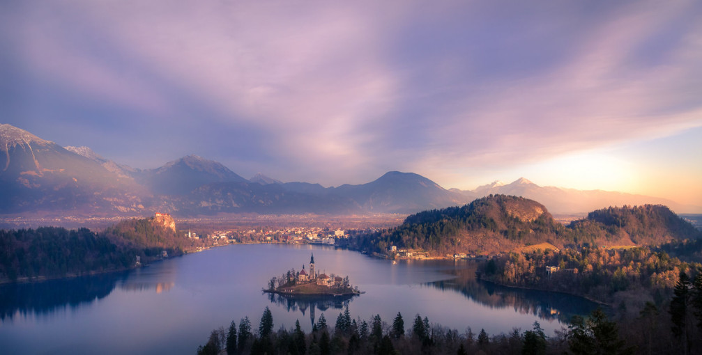 Postcard perfect view of Lake Bled from the Ojstrica mountain, Slovenia