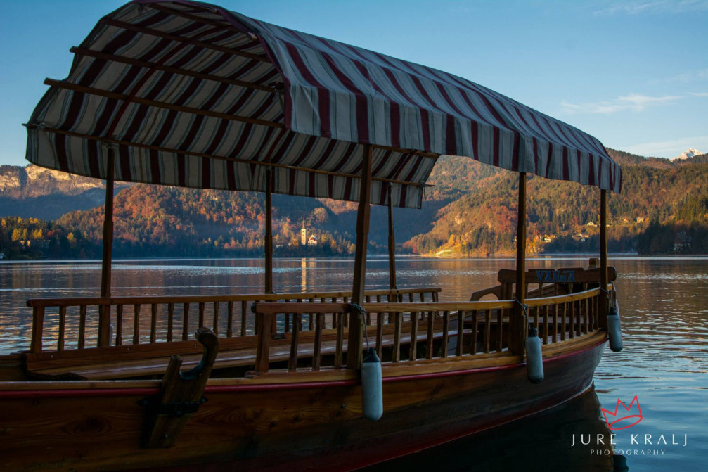 A Pletna boat on Lake Bled with Bled Island in the background