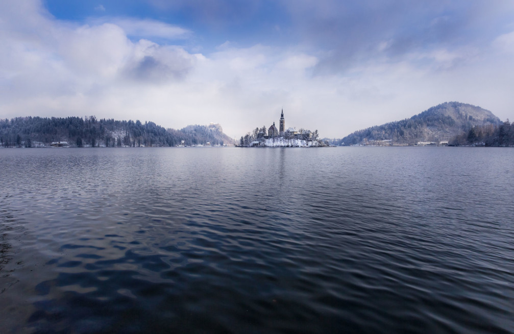 Bled Island with a white blanket of snow in winter