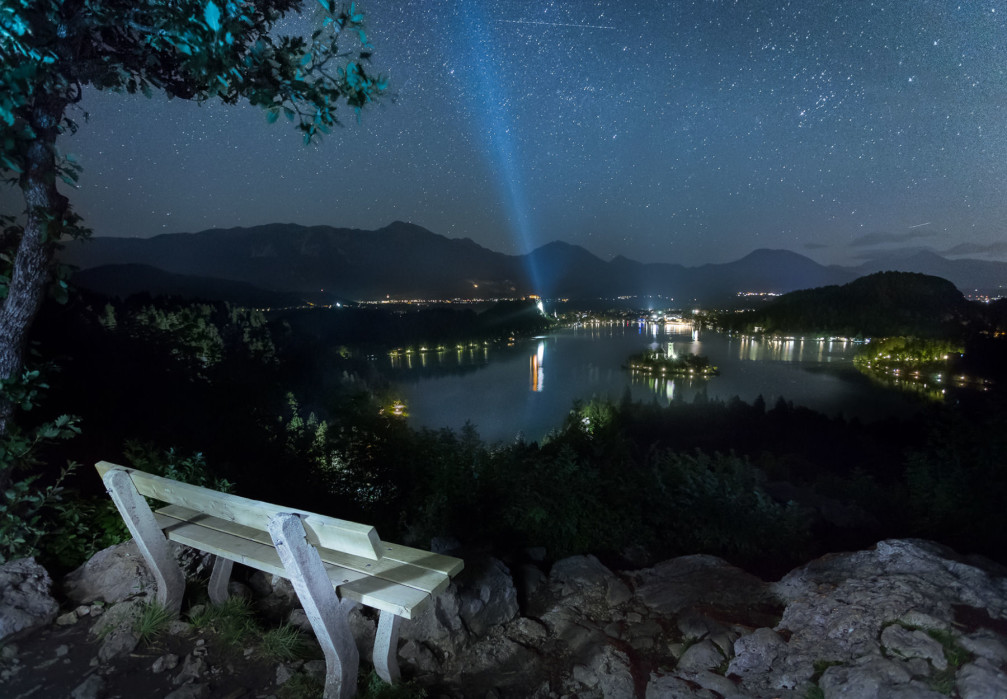 View of Lake Bled and the town of Bled at night