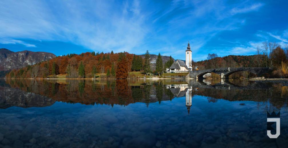Lake Bohinj, Slovenia with the Church of St John the Baptist
