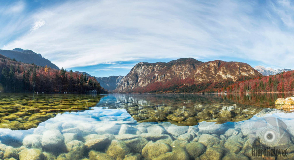 Lake Bohinj, Slovenia is gorgeously picturesque in autumn and the water is crystal clear