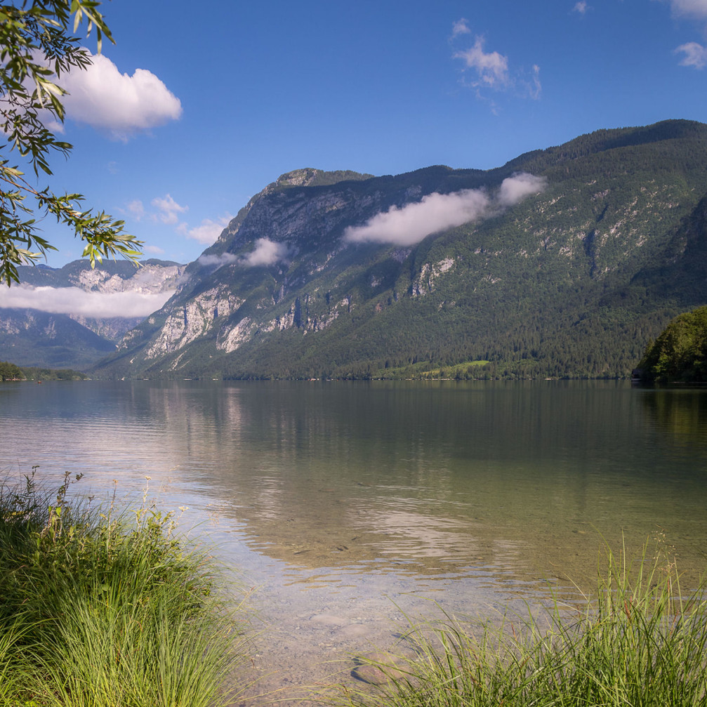 The tranquil Lake Bohinj in the Triglav National Park, Slovenia