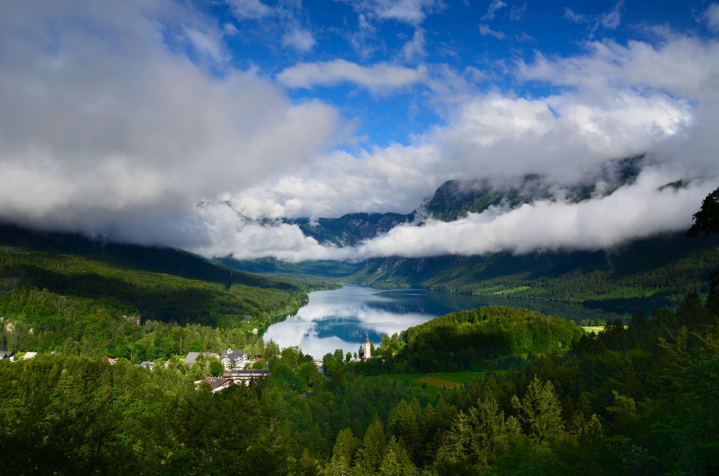 Breathtaking view of Lake Bohinj, Slovenia from the Pec Lookout Point