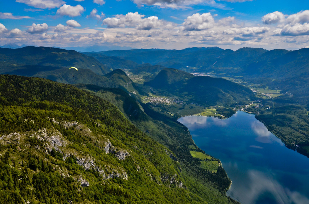 Stunning view of Lake Bohinj, Slovenia from the Prsivec mountain