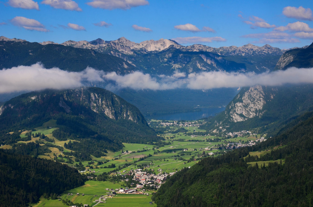 Incredible view of Lake Bohinj, Slovenia from the Vodnikov Lookout Point
