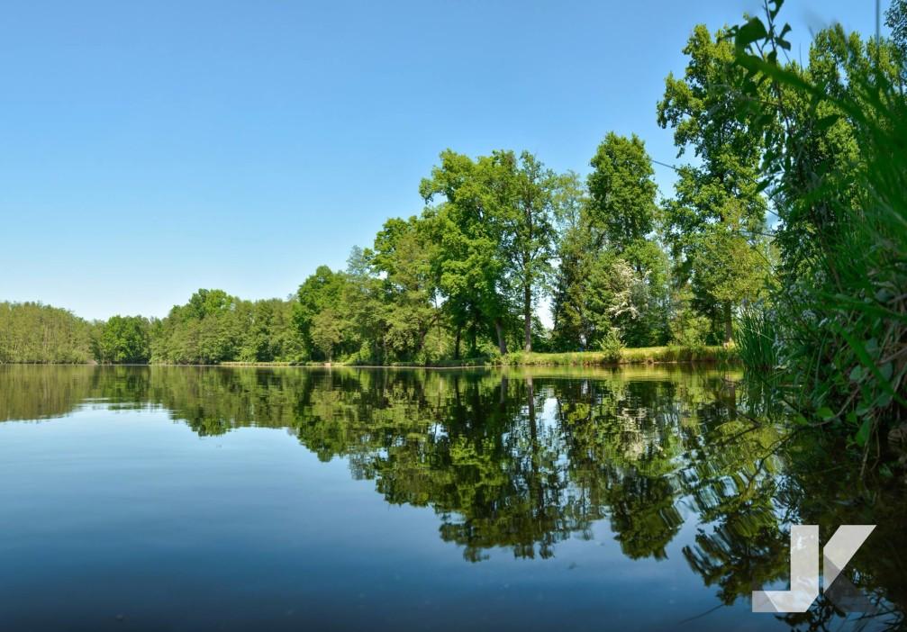 Lake Slivnisko Jezero near the town of Sentjur, Slovenia