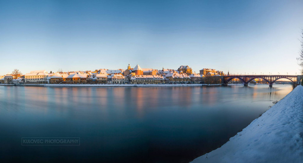 Maribor, Slovenia draped in winter white