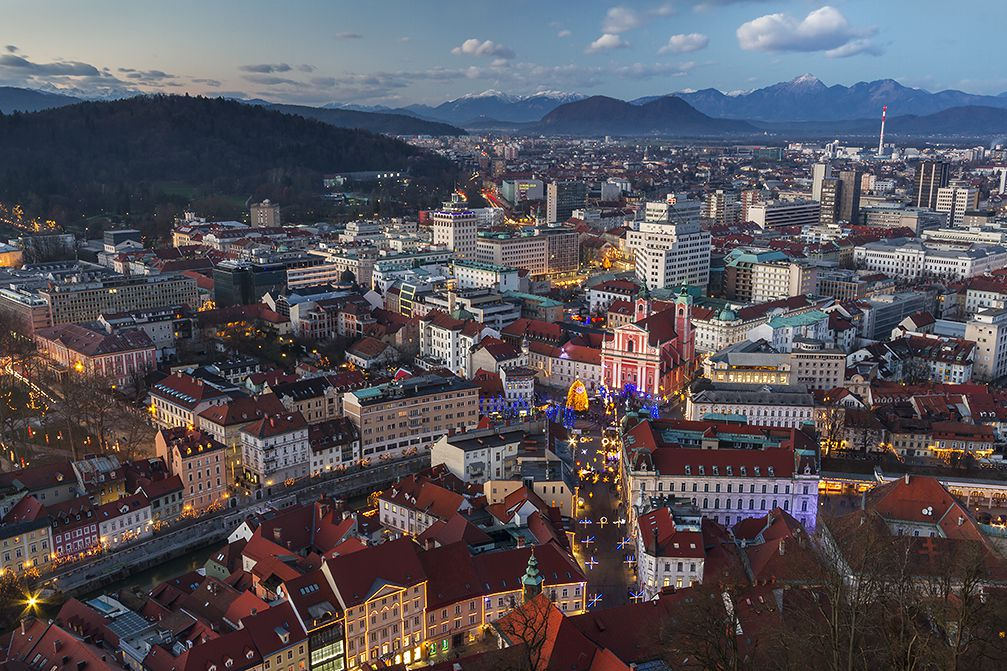 View of Slovenia's capital city Ljubljana from the castle, with the Slovenian Alps in background