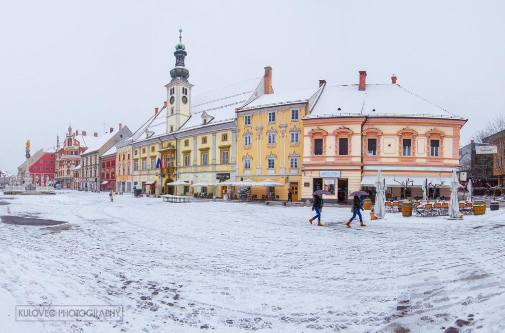 Main Square in Maribor, Slovenia in winter with snow