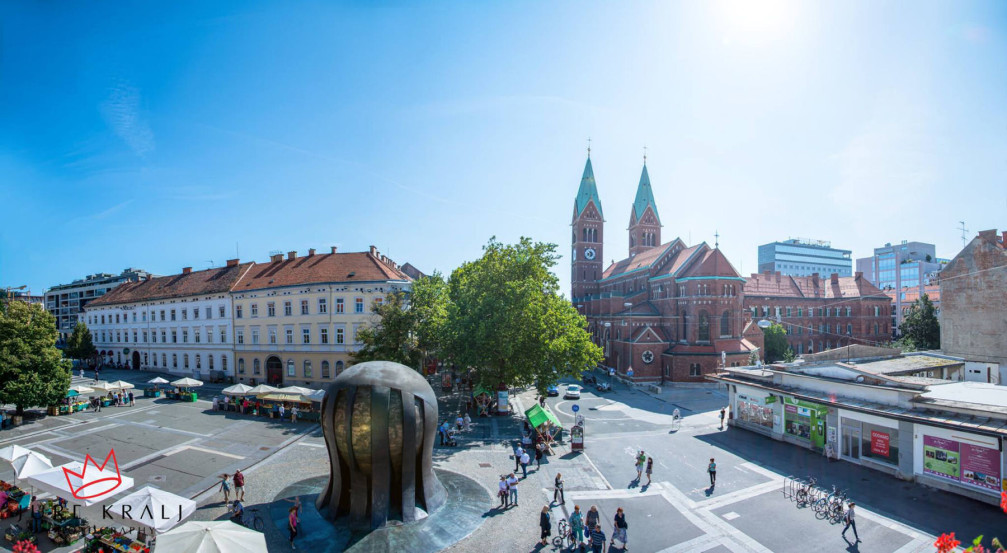Liberty Square is Maribor, Slovenia with the National Liberation Monument that dominates the square