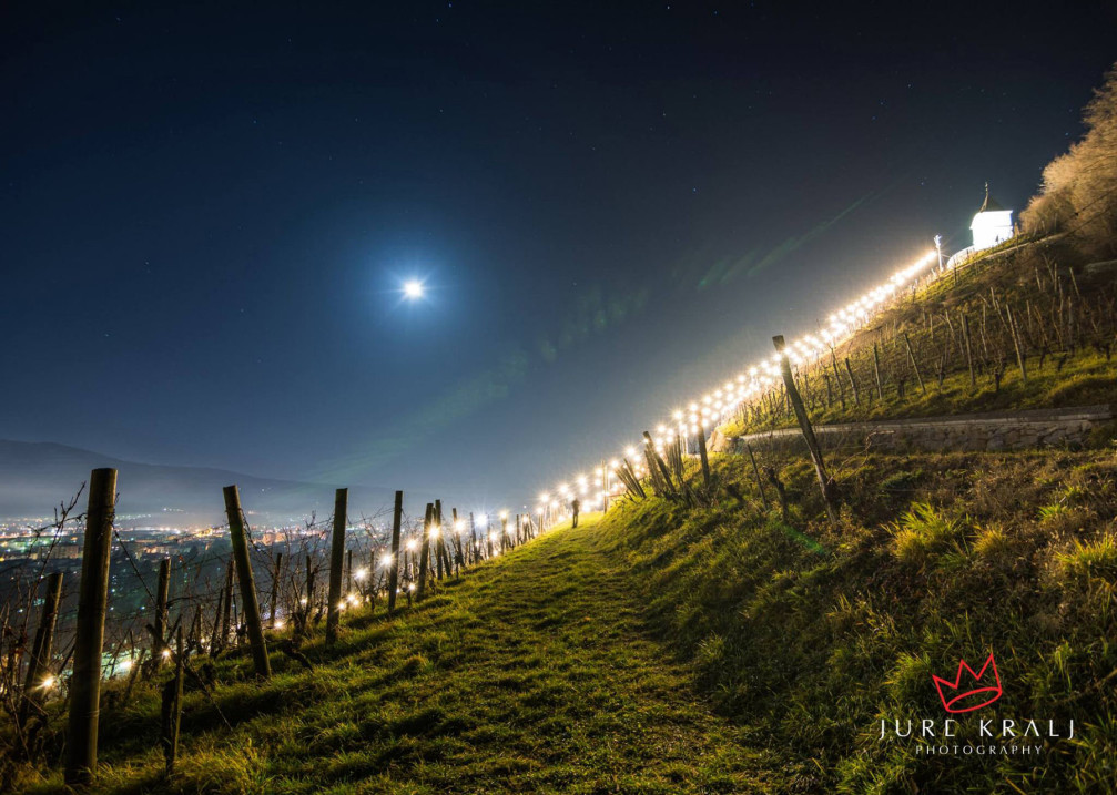 Pyramid Hill vineyards above the city of Maribor, Slovenia lit up with Christmas lights