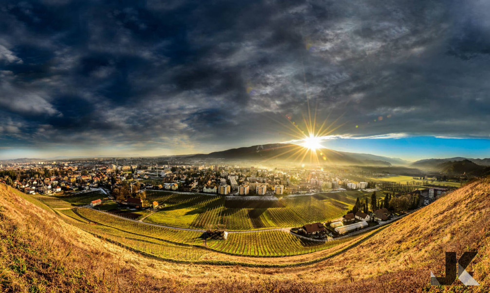 Maribor, Slovenia is lodged between the wine growing hills and the Pohorje mountain range
