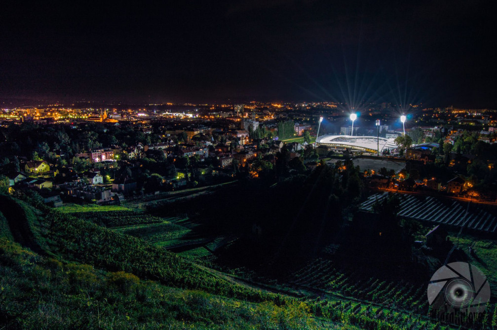 Night view of Maribor's famous Ljudski Vrt stadium from the Kalvarija hill