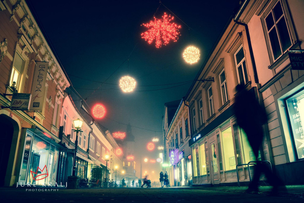 Pedestrianised central streets in Maribor, Slovenia, decorated with Christmas lights during the festive season in December