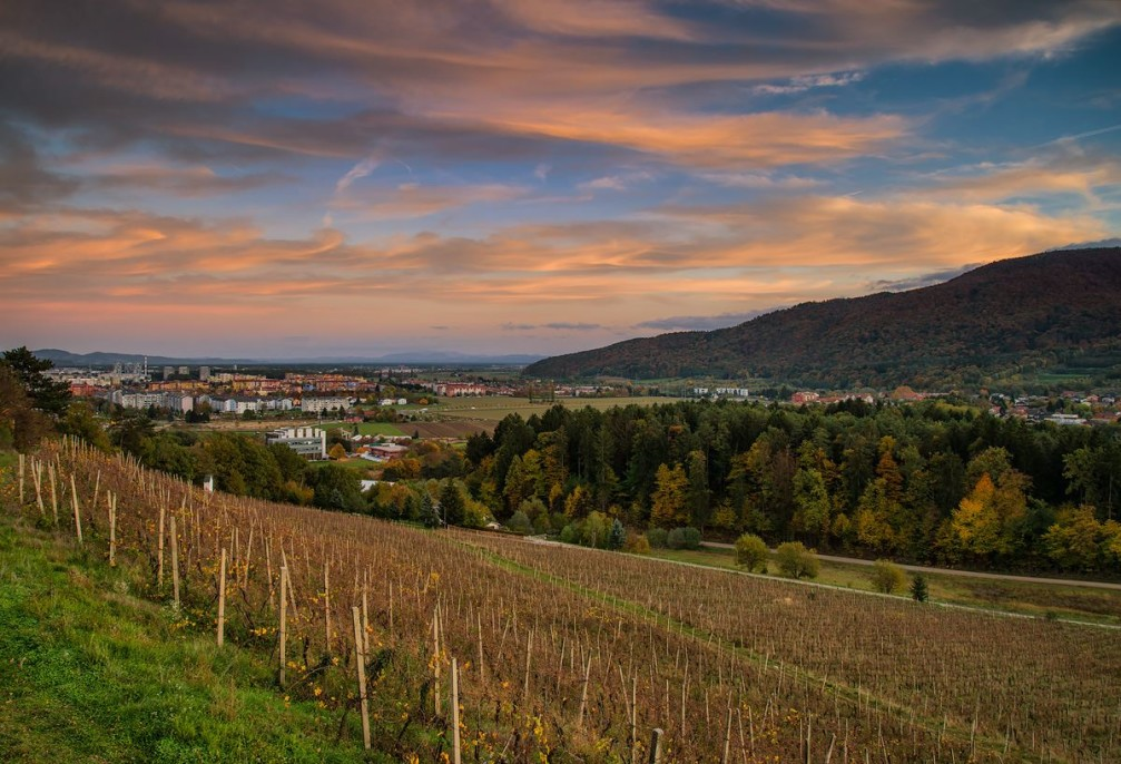 Maribor lies between wine-producing hills and the forested slopes of the Pohorje Mountains