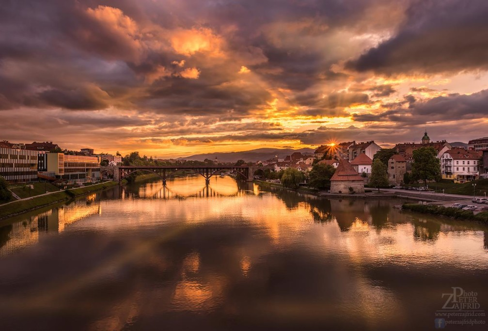 Beautiful sunset over Maribor, Slovenia's second largest city and the capital of the Styria region