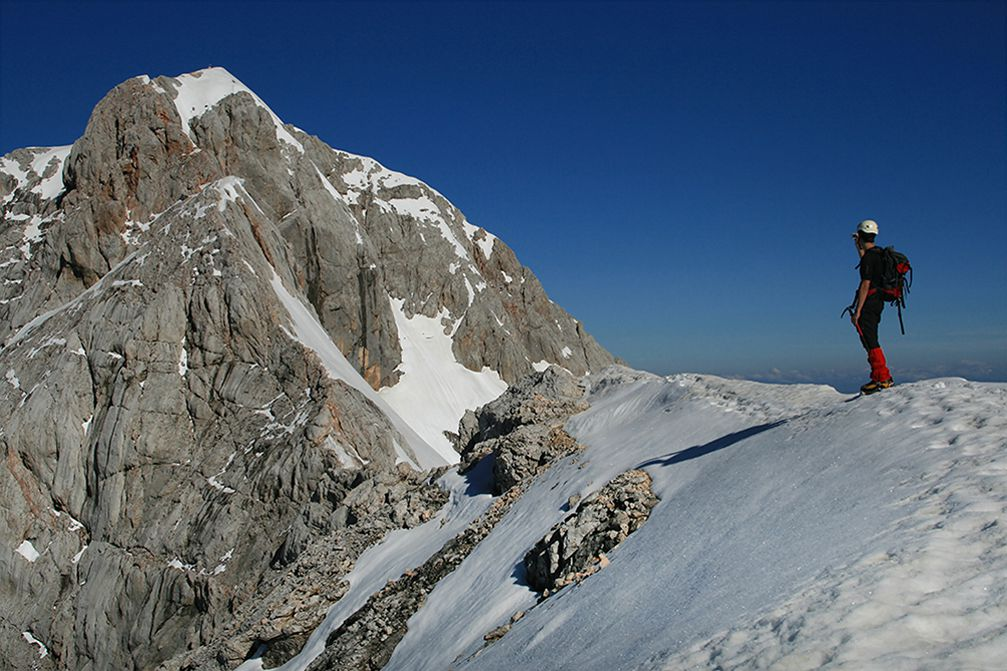 The ridge between Mt. Triglav and Mt. Mali Triglav in Julian Alps, Slovenia