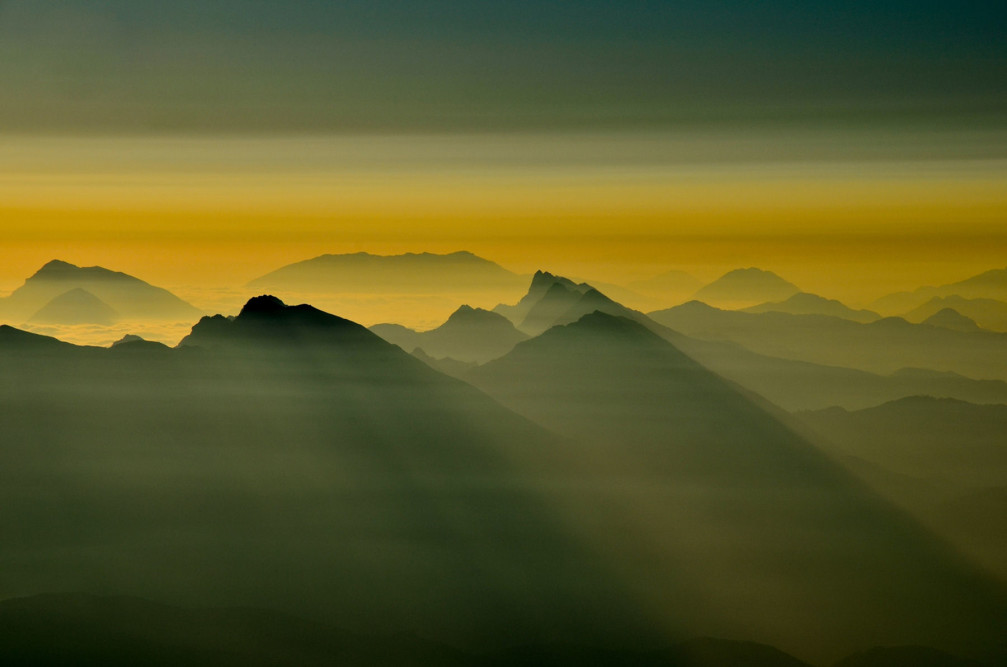 A beautiful sunrise captured from Mt Triglav, the highest mountain in Slovenia