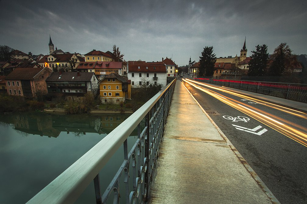 The town of Novo Mesto, Slovenia is perched snugly on the Krka river