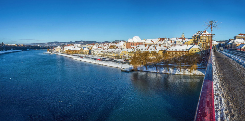 View of Maribor, Slovenia from the Old Bridge across the Drava river