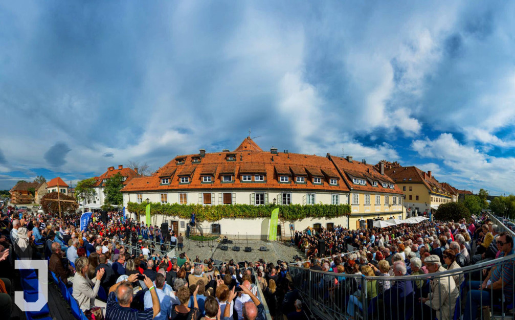 Ceremonial grape harvest of the Old Vine, the highlight of the Old Vine Festival in Maribor, Slovenia