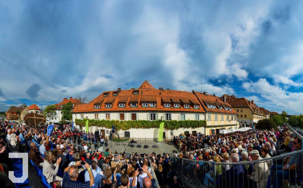 Ceremonial grape harvest of the Old Vine, the highlight of the Old Vine Festival in Maribor, Slovenia