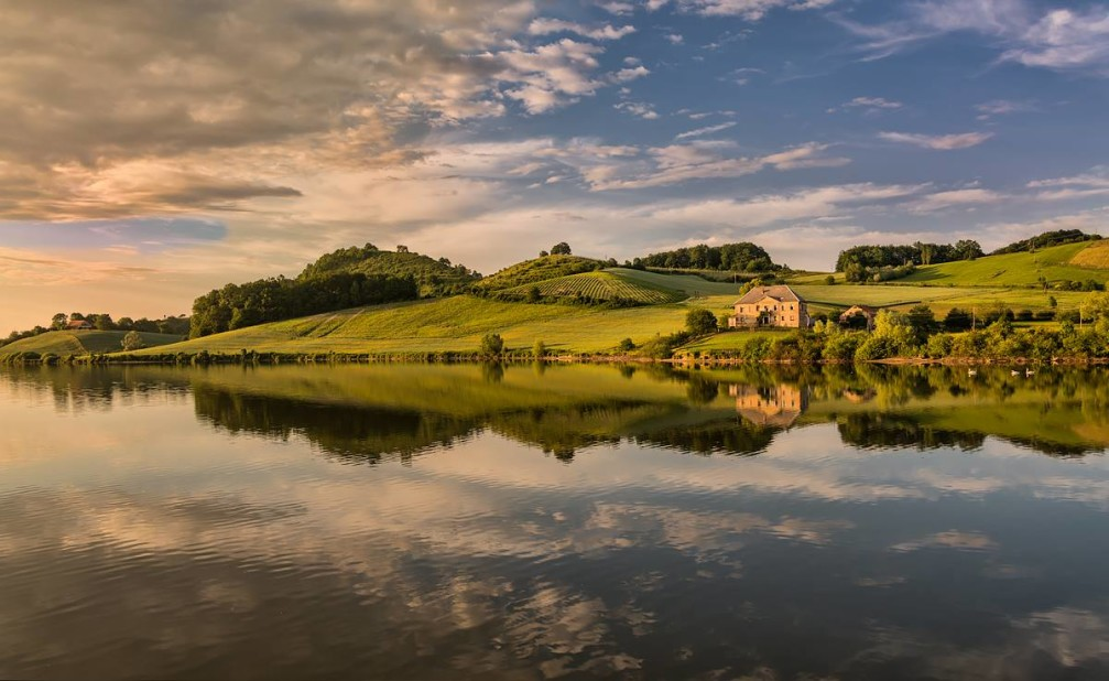 Beautiful landscape of Lake Pernica in the Styria region of Slovenia