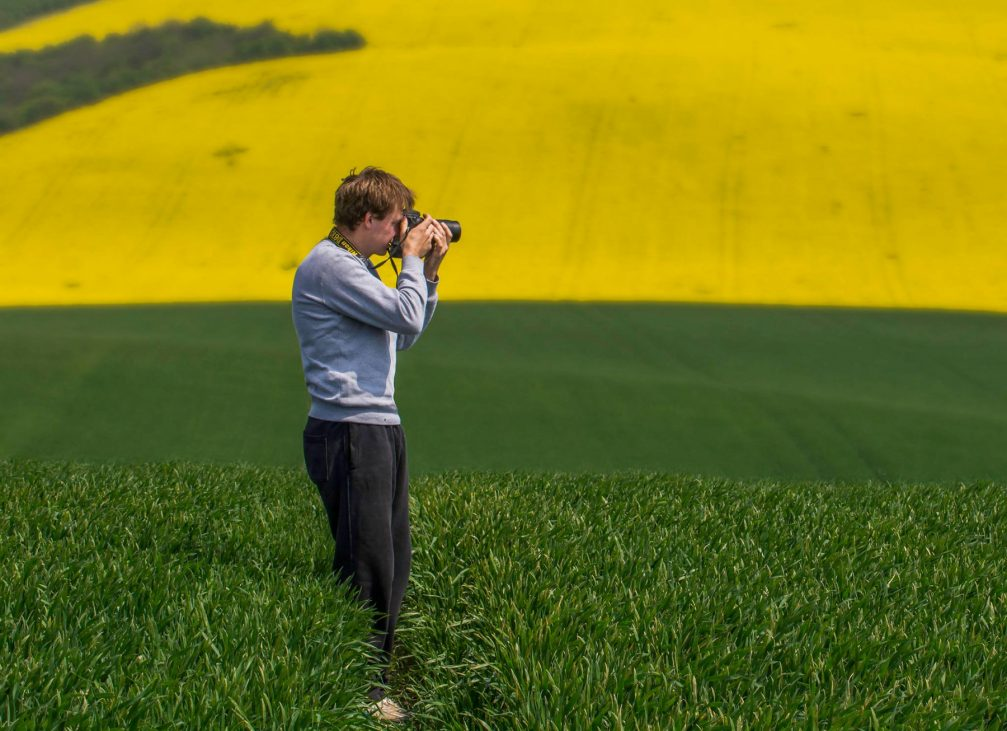 Slovenian landscape photographer Peter Zajfrid behind his camera