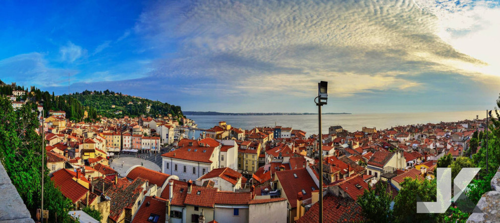 Panorama of the seaside town of Piran, Slovenia