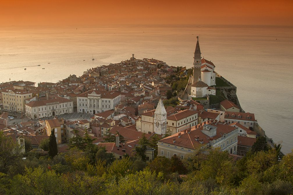 Beautiful elevated view of the Venetian town of Piran, Slovenia from the Castle Walls