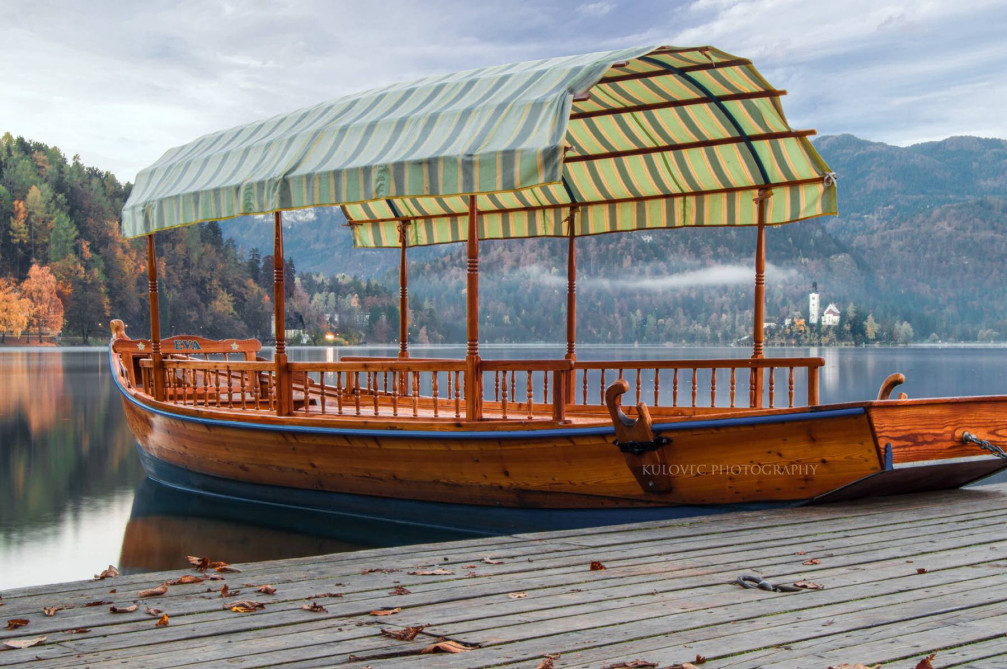 A traditional wooden boat, called Pletna in Lake Bled, Slovenia