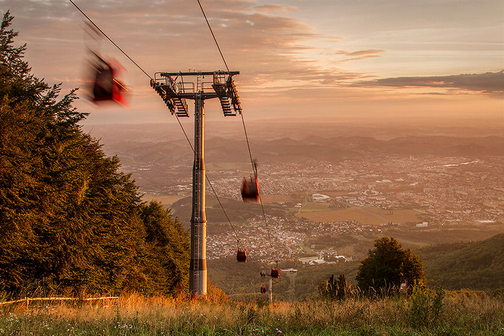 Beautiful view of Slovenia's second largest city Maribor from the the Maribor Pohorje Ski Resort