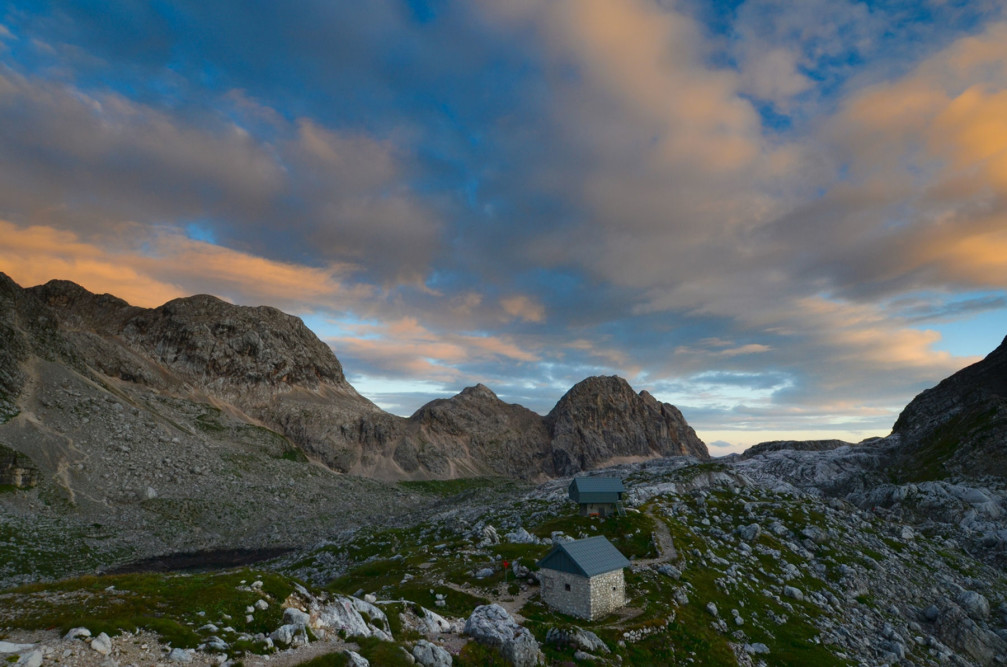 A Calm sunset as seen from the Prehodavci saddle in the Julian Alps, Slovenia