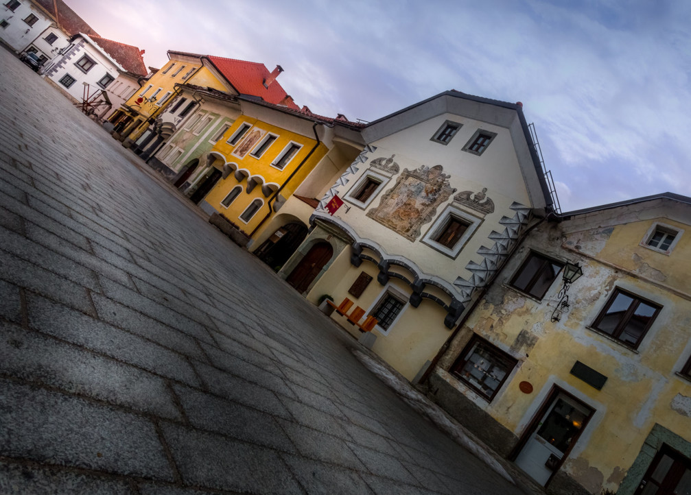 The charming medieval town of Radovljica, Slovenia has been carefully restored and protected