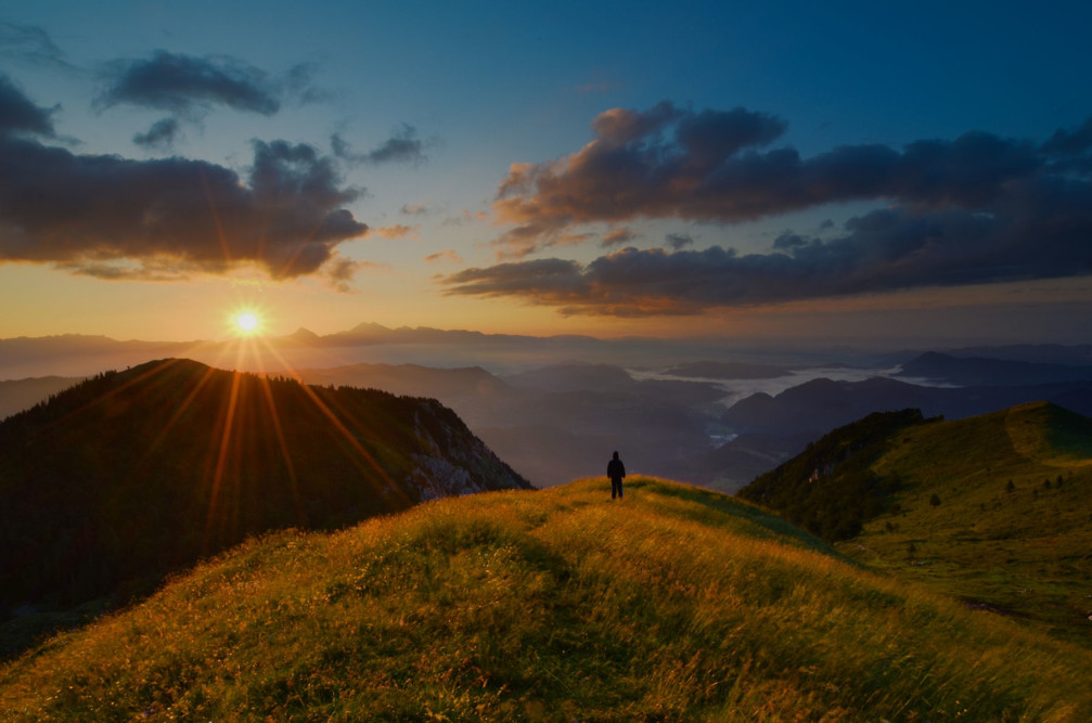 Beautiful sunrise from Mt Ratitovec, Julian Alps, Slovenia