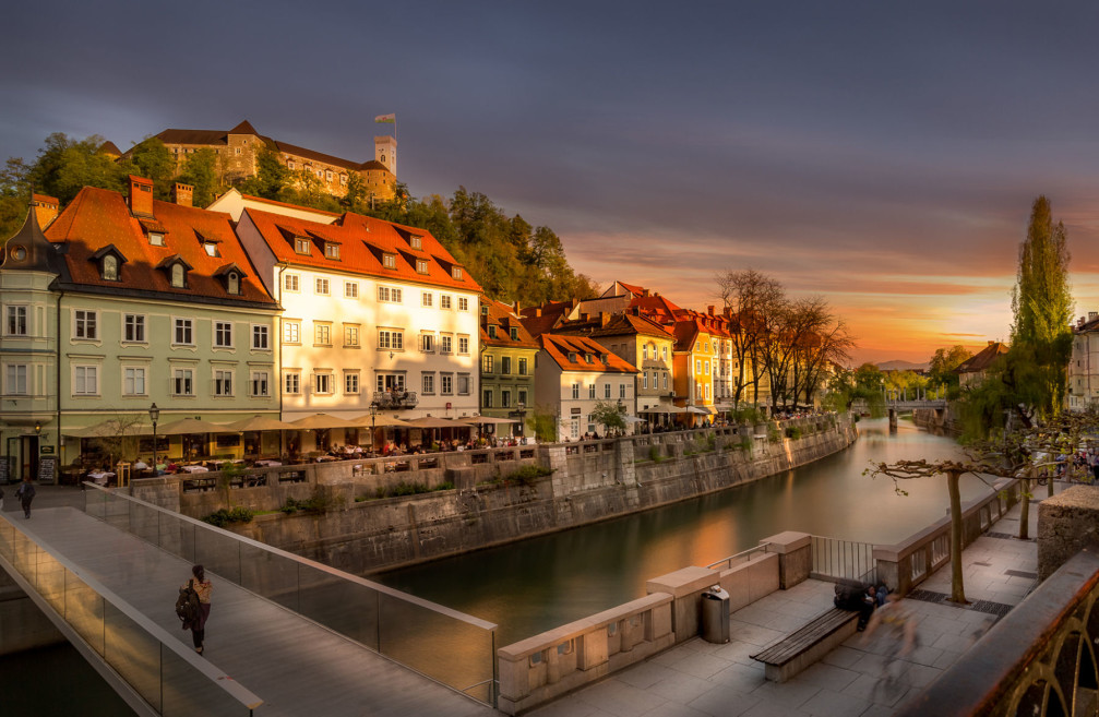 The glassy Ribja Brv footbridge in Ljubljana, the capital city of Slovenia