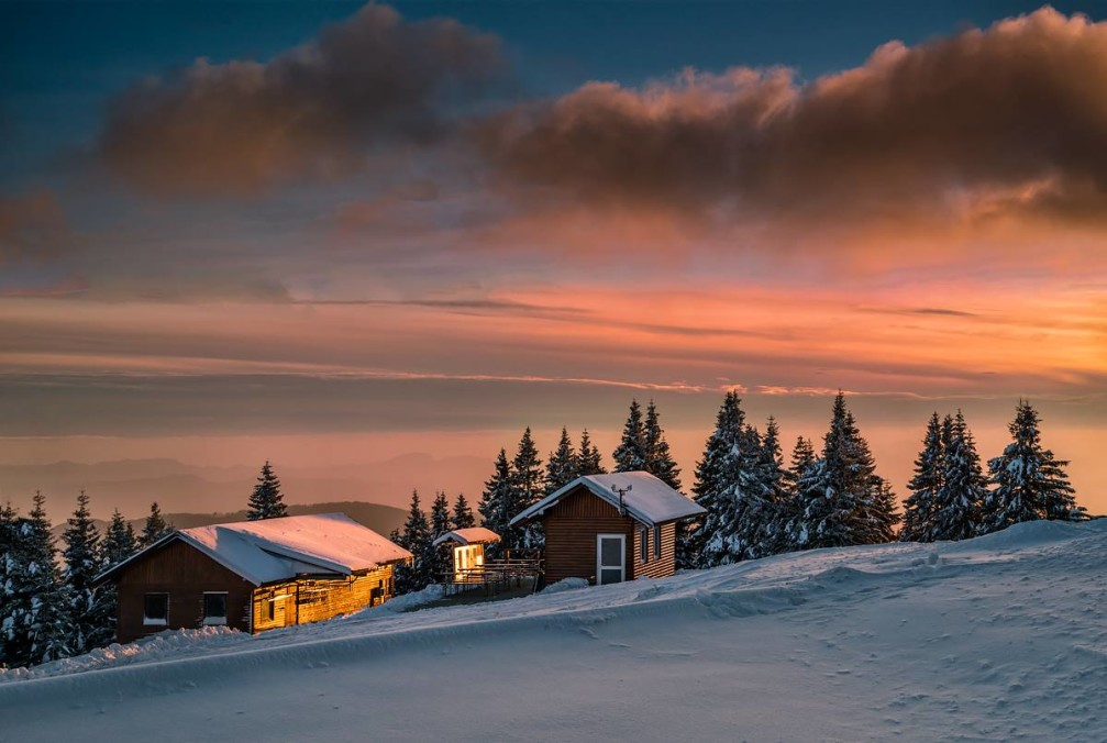 Beautiful winter sunset on the Rogla mountain in the Styria region of Slovenia