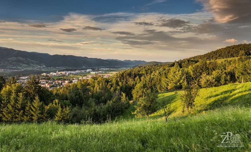 View of the town of Ruse from the Pohorje mountain in the Styria region of Slovenia