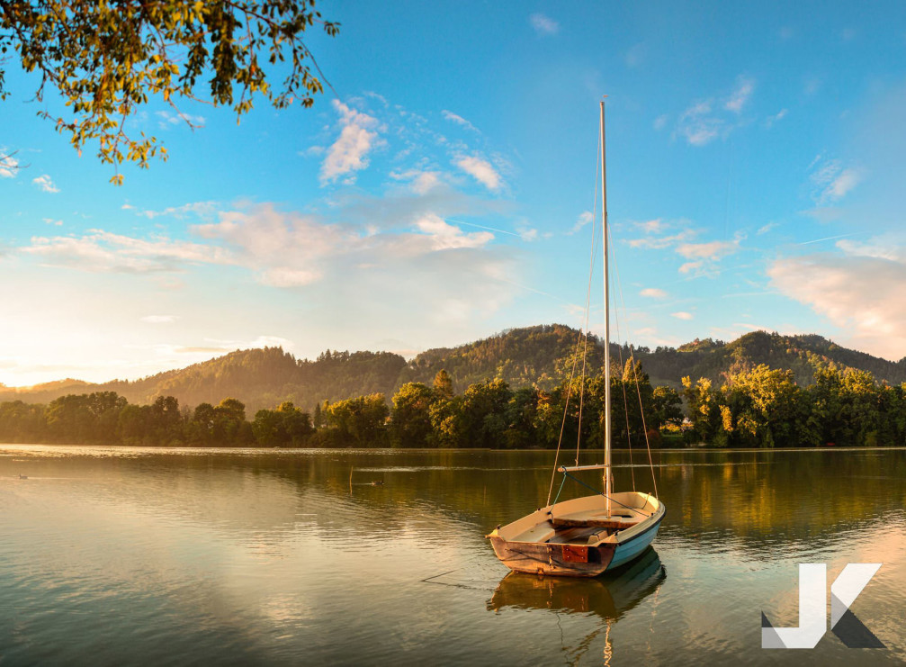 A sailboat on the Drava River near Maribor, Slovenia