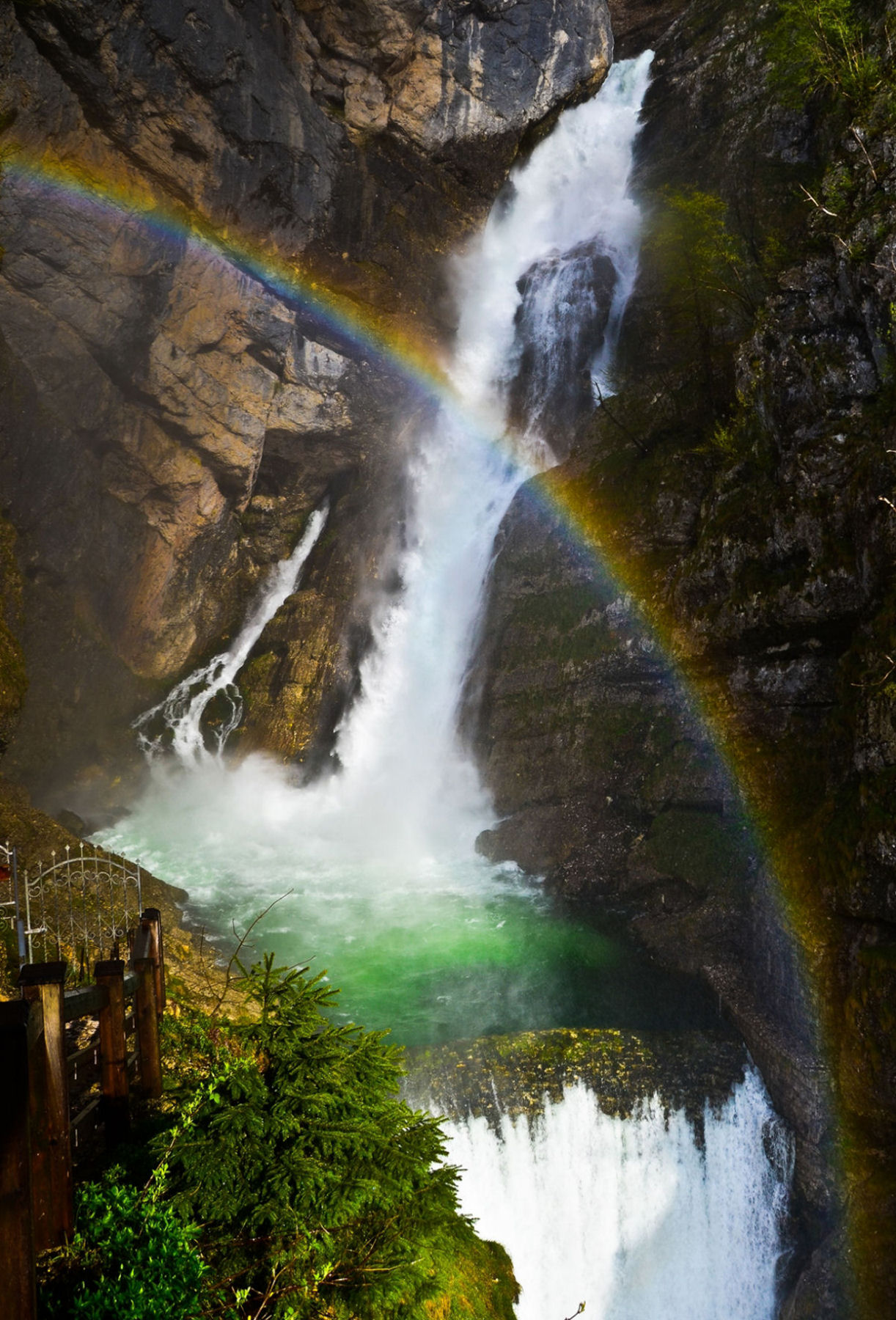 Savica Waterfall is an amazing natural attraction situated above Lake Bohinj, Slovenia