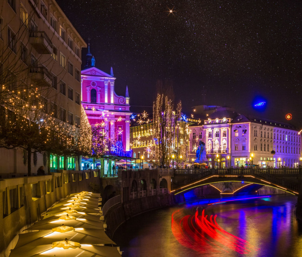 Ljubljana, the capital of Slovenia, adorned with Christmas lights and decorations