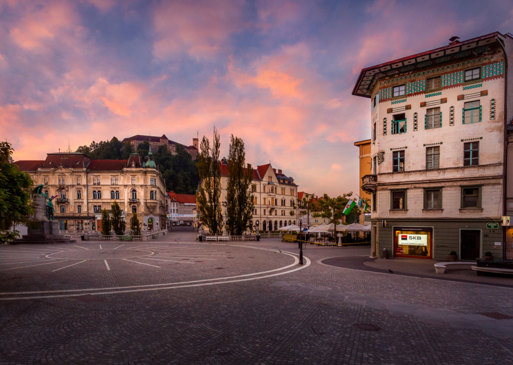 Lovely, oval-shaped Preseren Square is the hub of Slovenia's capital Ljubljana where several main roads converge