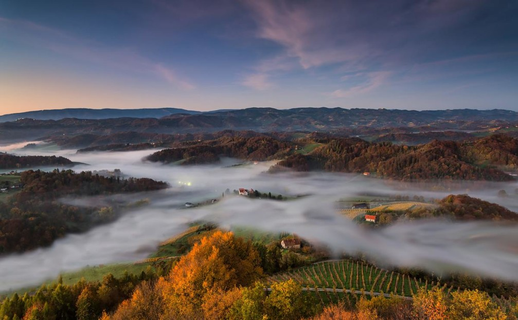 The beautiful hilly countryside of Slovene Hills in autumn in the Styria region of Slovenia