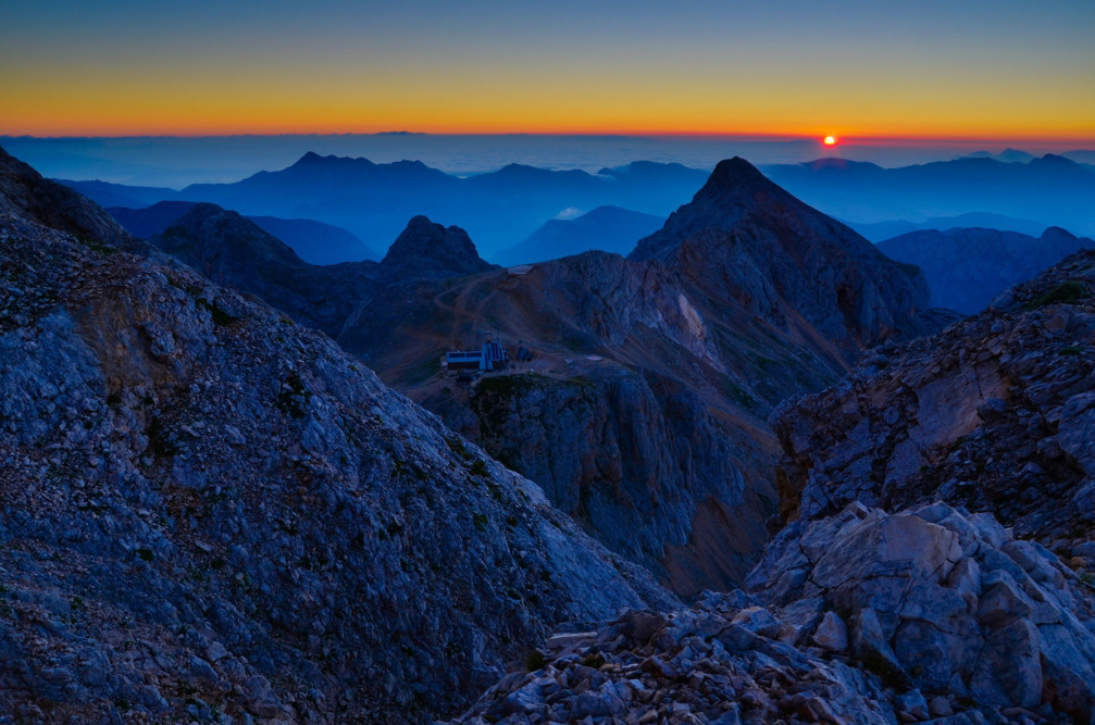 Beautiful sunrise captured from Small Triglav, Julian Alps, Slovenia
