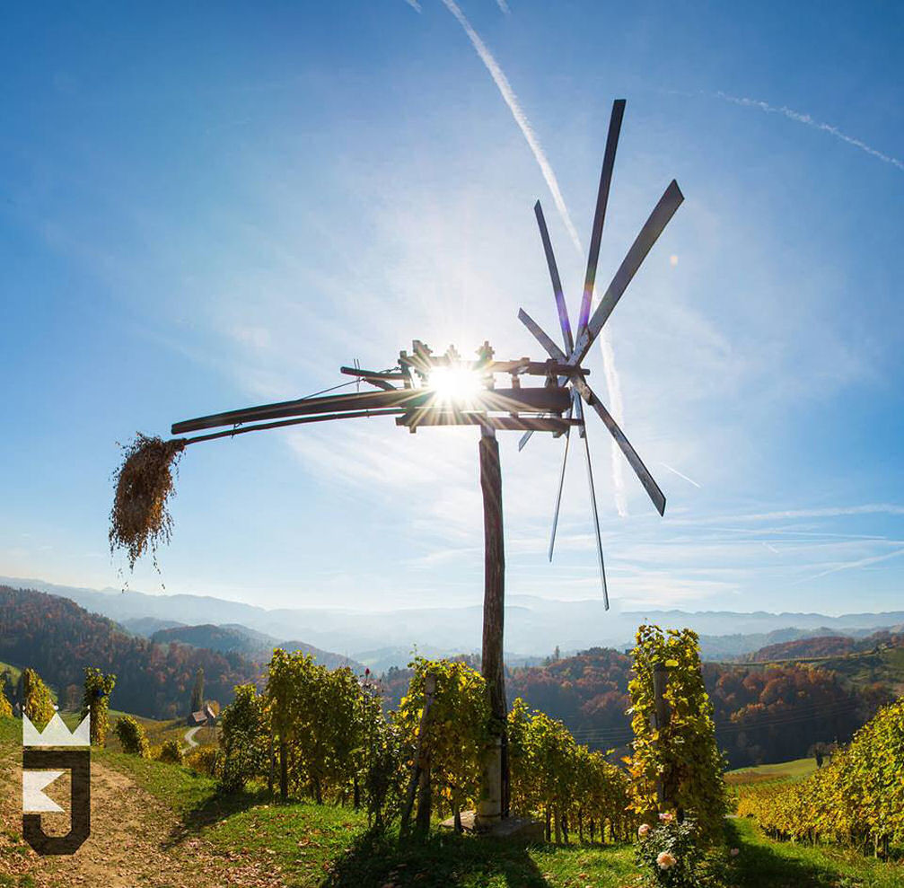 Klopotec or wind rattle in the vineyards of Slovene Hills in Spicnik, Slovenia
