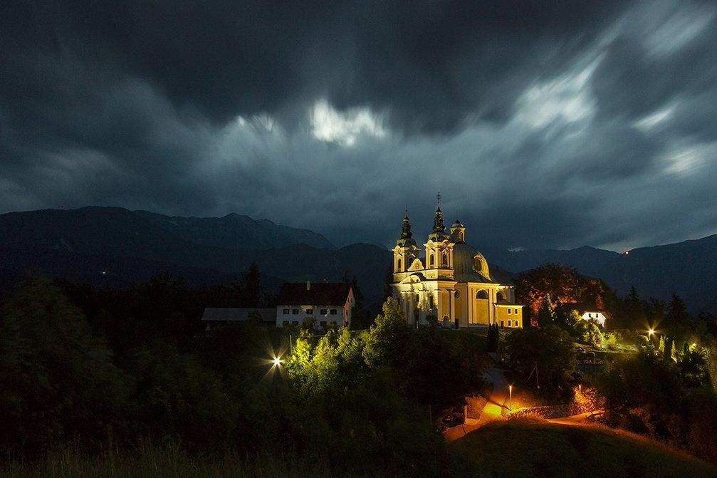 Parish church, dedicated to Saint Anne, on a hill above the Tunjice village, Slovenia