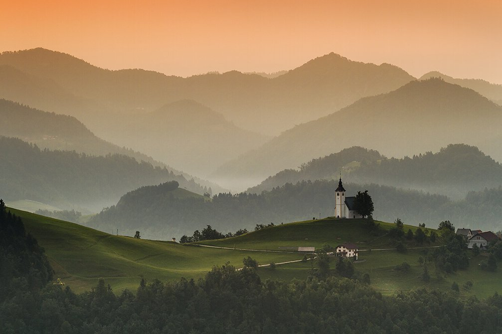 Church of St. Andrew built around 1659 in a beautiful setting of Planina nad Horjulom, Slovenia