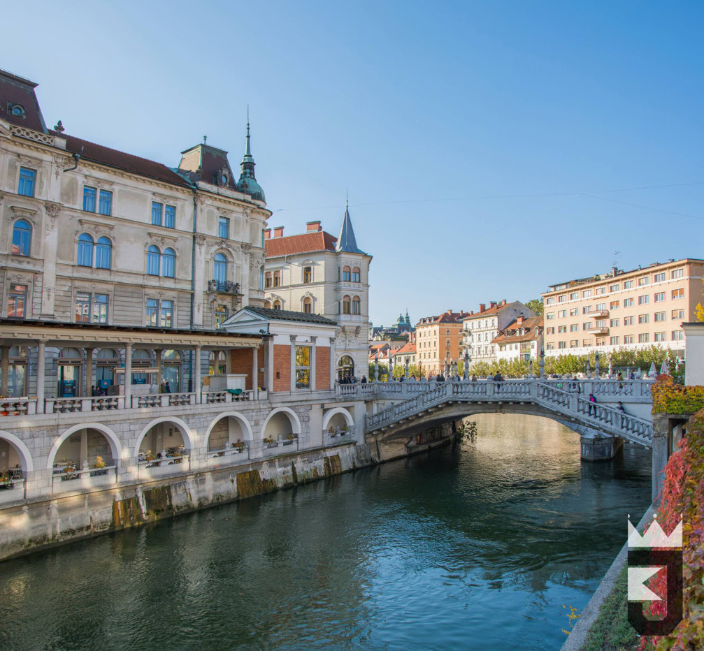 Slovenia's capital Ljubljana with the Triple Bridge over the Ljubljanica river
